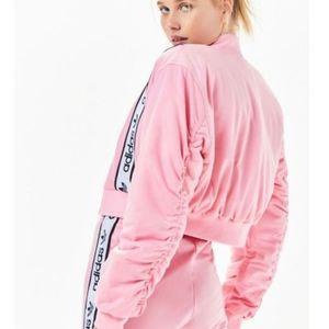 ADIDAS pink cropped bomber jacket  XS
